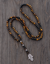 Men Necklace 6MM Tiger Eye Onyx with Antique Beads Hamsa Fatima Hand Pendant Mens Rosary Necklace Men Jewelry Dropshipping(China)