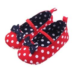 Обувь для малышей с бантом для маленьких девочек; мягкая хлопковая детская кроватка в горошек для новорожденных; подошва для маленьких дете...