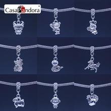 CasaPandora Silver Plated Chinese Twelve Zodiac Pendant Twelve Animal Signs Fit Bracelet Charm DIY Bead Making Pingente Berloque