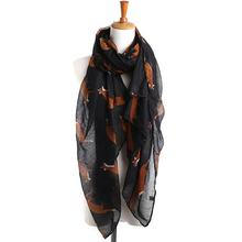 2017 Lady Long Scarf Women Cute Fox Printed Scarves Autumn Voile Soft Wraps Shawl Women Retro Scarf From India Bandana #JO