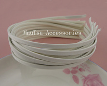 10PCS 5mm Beige Fabric Full Covered Plain Metal Hair Headbands hairbands for DIY hair jewelry