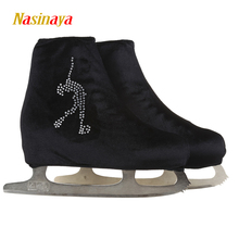 24 Colors Child Adult Velvet Ice Skating Figure Skating Shoes Cover Roller Skate Fabric Accessories White Skater 2 Rhinestone(China)