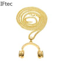 Iftec 2017 Earphone Crystal Necklaces Pendants Rhinestone Gold color Stainless Steel Earpiece Necklace Woman Men Music Jewelry