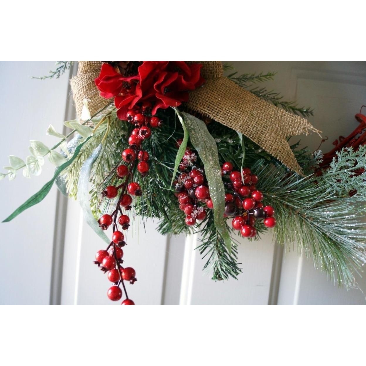 Christmas wreath, Red Rustic Christmas Wreath, Christmas Decoration (4)