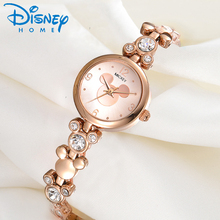Disney Watch Women 2018 Silver Luxury Brand Fashion Rose Gold Quartz Watches Mickey Mouse Rhinestones Stainless Steel Wristwatch(China)