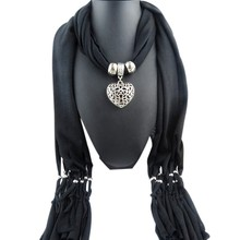 Fashion Women Scarf With Tassel Beads Hollow Peach Heart Pendant Necklace Scarves Wrap Shawl