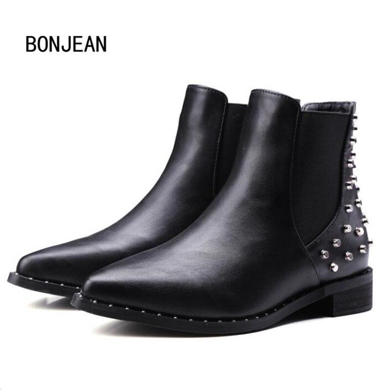 Punk Rivets Boots Chelsea Shoes Women Ankle Boots Real Leather Shoes Winter Warm Fur Boots Martin Short Snow Boots Plus Size <br>