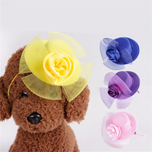 PACGOTH Pet Hat Beautiful Hair Accessory for Dogs Cats Rose Flower Mesh Decor Wool Hats Caps Pet Necessary 10 cm Dia 4 Colors
