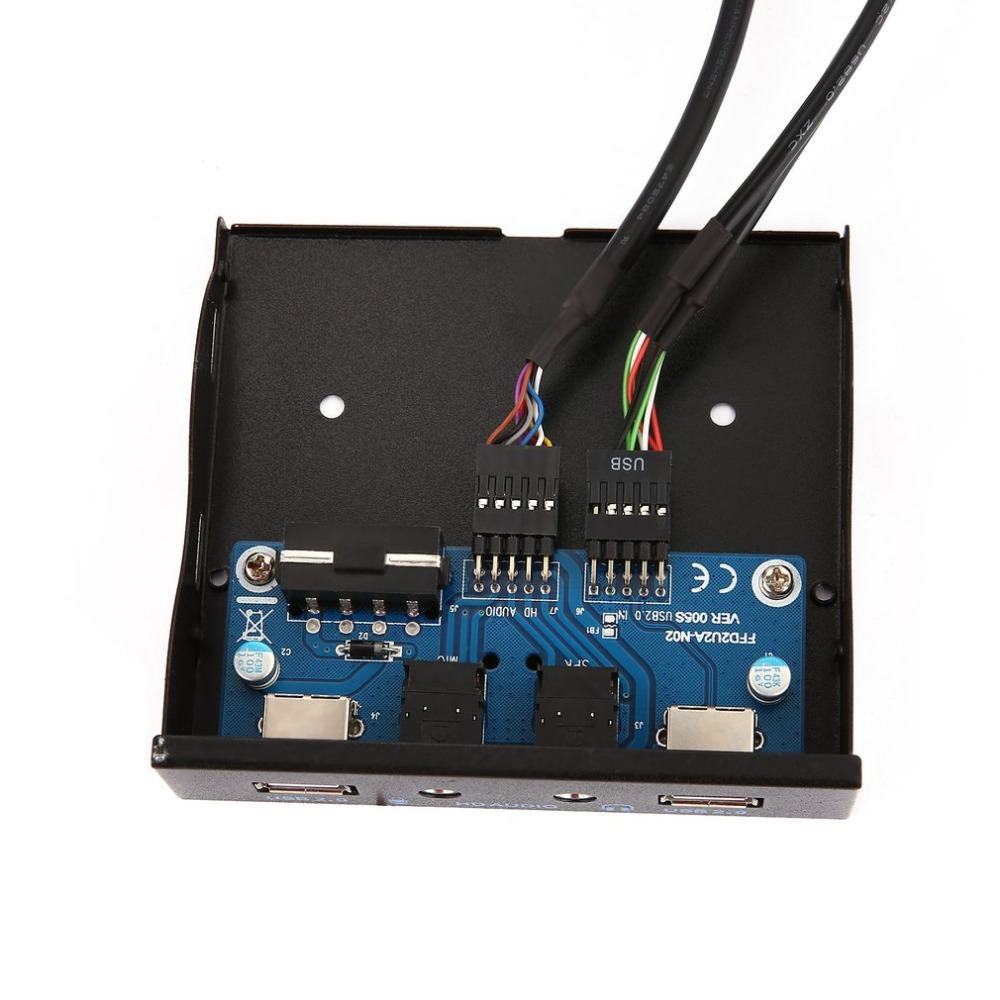 """3.5"""" 2-USB 2.0 Port HUB HD Audio Output Floppy Drive Expansion Front Panel Digital Mobile Rack Expanding for Your PC"""