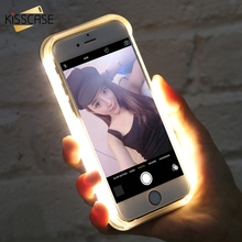KISSCASE LED Flash Selfie Light Phone Case For iPhone 5S SE 8 Plus 7 6S 6 Plus Cases For Samsung Galaxy S7 S6 Edge Capa Capinha(China)