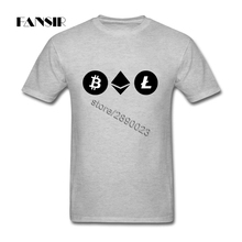 Men Tshirts Swag Custom Cotton Short Sleeve Tees Shirt For Men Bitcoin Ethereum Litecoin Adult Tops Clothing(China)