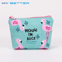 New Cute Purses Cartoon Bird Flamingos Canvas Coin Purses Wallet High Performance Price Ratio Zipper Card Bag(China)
