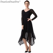 DuaoLouDuaoDou Apparel Original design long-sleeved dresses Spring Autumn high quality new women lace irregular high-end fashion(China)