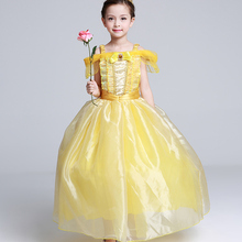 New 2017 Kids Girl Beauty and beast cosplay carnival costume kids belle princess dress for Christmas Halloween Dress For 3-10yrs