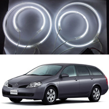 7000K Bright Angel eyes kit for NISSAN PRIMERA P12 2002-2008 CCFL Angel Eyes with 4ccfl angel rings 2 waterproof ccfl inverters