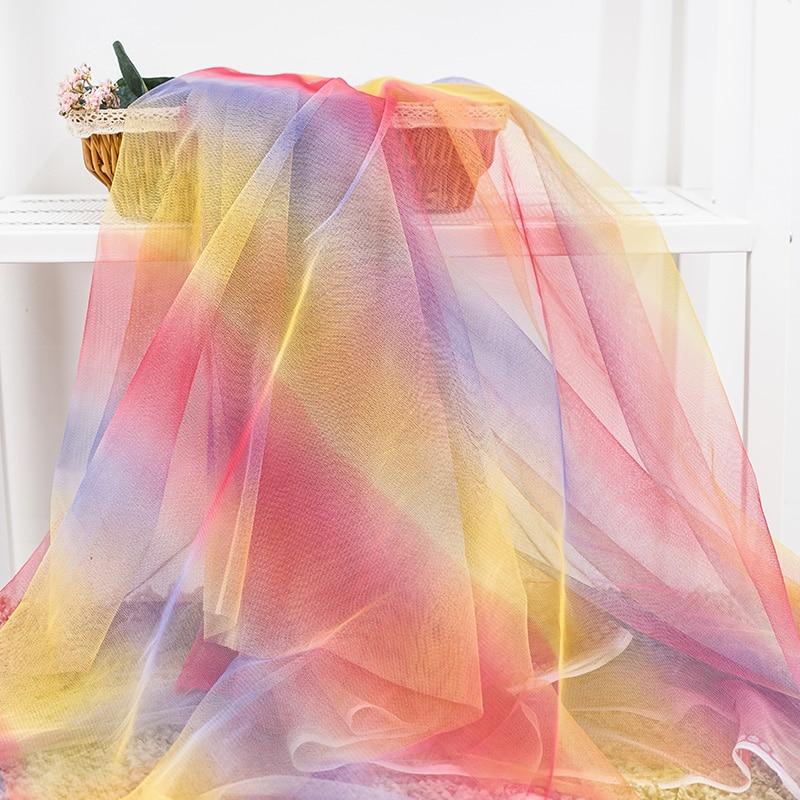 Rainbow Organza Fabric Material Art Crafts Children Parties Decoration Per Metre