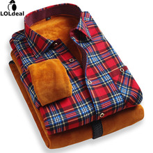 christmas New arrival 2017 fashion men's casual Plaid Warm Shirt 3XL Long Sleeve Winter Slim Dress Shirt(China)