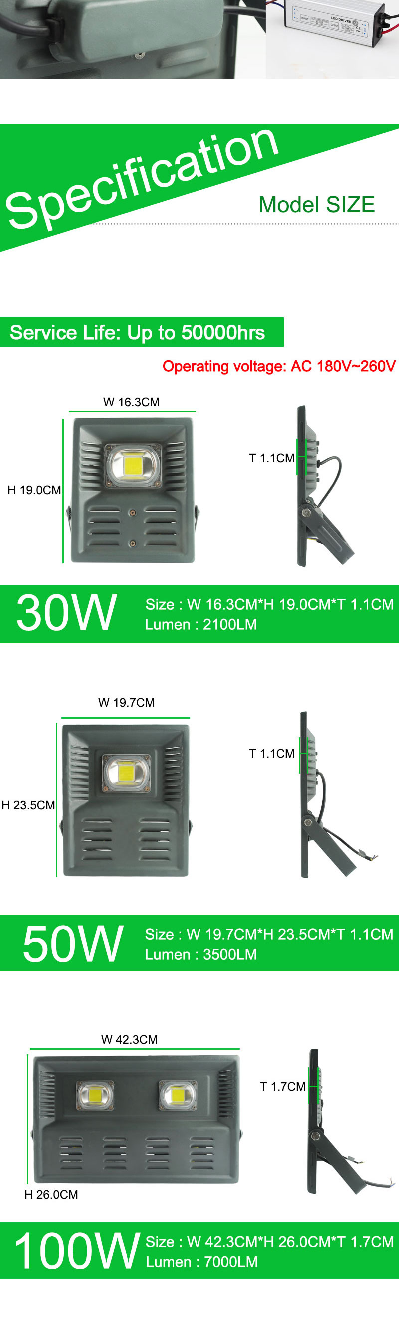 10w 20w 30w 50w Spot Led Flood Light Ac 220v 185 265v Waterproof Ultrasonic Piezoelectric Ceramic Transducer For Humidifier Circuit Ip66 Ip65 Spotlight Outdoor Garden Lamp Floodlight Lighting