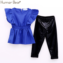 Humor Bear Girls Clothes Fashion Summer Children Girls Clothing Sets Blue Shirt Dress + Black Leggings Cool Baby Kids 2Pcs Suits(China)