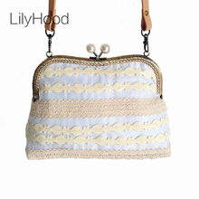 2017 Women Shabby Chic Lace Shoulder Bag Handmade Vintage Retro Victorian Style Pearl Wedding Cotton Frame Funky Kiss Lock Bag(China)
