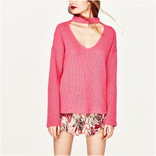 NYMPH Winter Autumn Women Sweaters and Pullovers 2017 Large Size Full Sleeve V-neck Knitted Fashion Casual Loose Punk Sweater(Hong Kong)