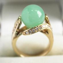 beautiful  new  jewelry GP with crystal decorated &12mm light green jades ring(#7.8.9)