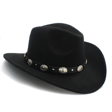 Retro 100% Wool Winter Western Cowboy Hat For Children Kids Wide Brim Cowgirl Jazz Cap With Leather Toca Sombrero Cloche Cap 20(China)