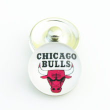 20pcs/lot Fashion Basketball NBA Chicago Bulls Snap Button Sports Charms for DIY 18mm Snap Bracelet Jewelry