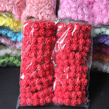 144pcs 2cm Mini Foam Rose Artificial Flower Bouquet Multicolor Rose Wedding Flower Decoration Scrapbooking Fake Rose Flower(China)