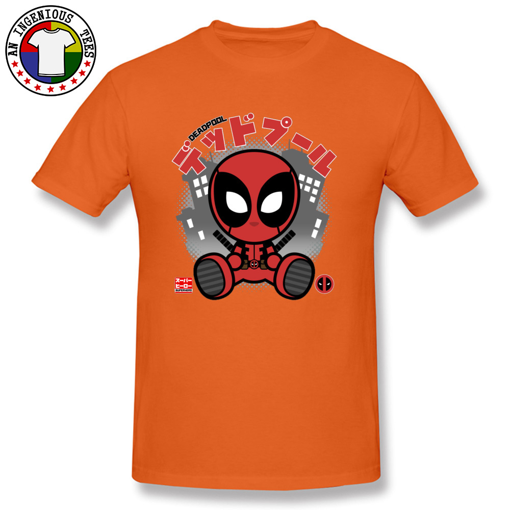 Deadpool Chibi 1226 T-Shirt Graphic Short Sleeve Casual Pure Cotton Crewneck Mens Tops T Shirt Customized Tshirts Summer Deadpool Chibi 1226 orange