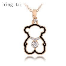 Bing Tu Fashion Crystal Necklace Lovely Gold Color Hollow Bear Pendants Necklaces Cute Cartoon Animal Jewelry Women Child Gift