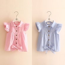 2017 New Style Fashion Striped  Kids Girls T-shirts Childrens Tops T Shirts for Girls With Knotbow Clothing Teenage Clothes