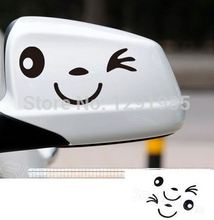 Smiling face emoji Car Decal Vinyl Sticker Rearview mirror Car Accessories Reflective custom made car decoration