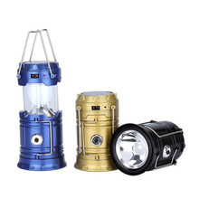 6 LED Solar Camping Light stretchable outdoor camping lantern Collapsible Solar Camping Lantern Tent Lights for garden home(China)