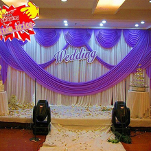 3m*6m (10ft x 20ft) colorful wedding backdrop curtain event decoration purple wedding stage backgroud drapery with swags