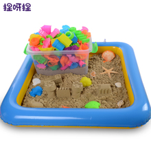 Plastic Inflatable Sand Tray Mobile Table Dynamic Educational Sand clay Amazing DIY Indoor Magic Playing Sand Clay Color(China)