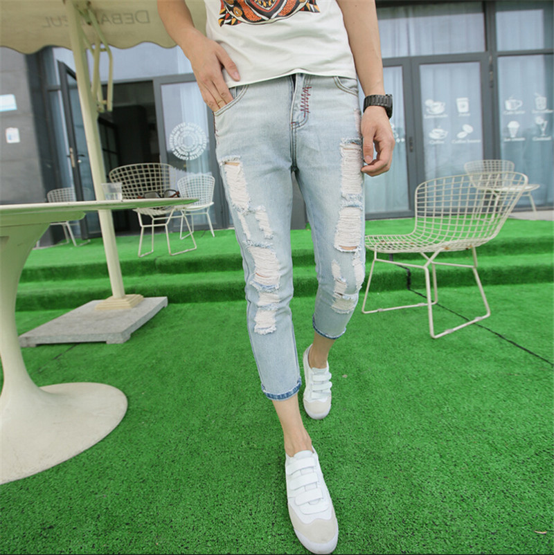 Skinny Jeans 2017 Explosion Models To Brand New Hole Straight Jeans Male Non Mainstream Slim Size 28-36Одежда и ак�е��уары<br><br><br>Aliexpress