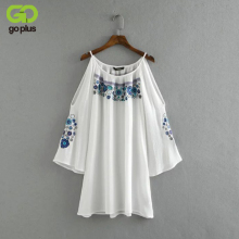 GOPLUS Summer Beach Mini Dresses For Women Boho White Floral Embroidery Off Shoulder Dresses Halter Causal Bodycon Dress C3990(China)