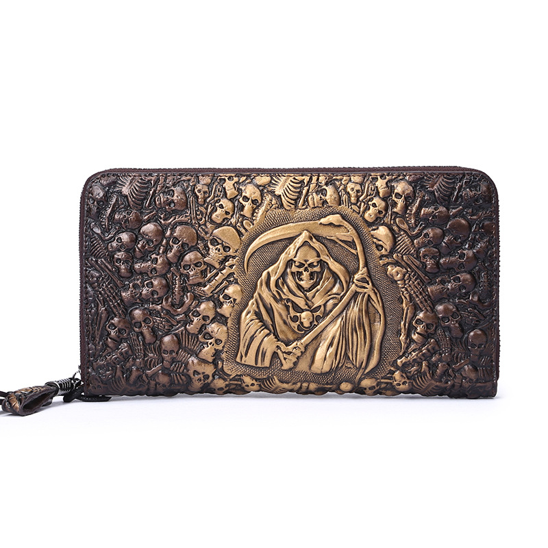 New Mens 3D Embossing Skull Wallet Male Genuine Leather Day Clutch Vintage Design Card Holder Long Style Fashion Punk Carteira<br><br>Aliexpress