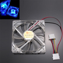 Factory Price Binmer Blue Quad 4-LED Light Neon Clear 120mm PC Computer Case Cooling Fan Mod Free Shipping Good Quality