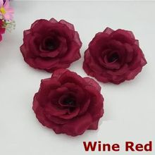 10PCS/Lot 8CM Wine Red Color Artificial Rose Silk Flower Heads DIY Wedding Home Decoration Festive Party Supplies Can Mix Color