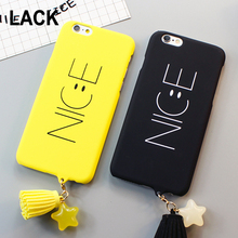 LACK Luxury Stars Tassel Pendant Cover For iphone 6 Case Cartoon Simple Letter NICE Smile Face Phone Cases For iphone 6S 6 PLus(China)