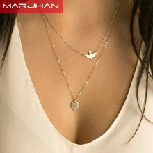 2016 Boho Choker Necklace Silver Fashion Chain Beads Metal Discs Jewelry Pendants Multi Layer Necklace Gold Necklaces for Women