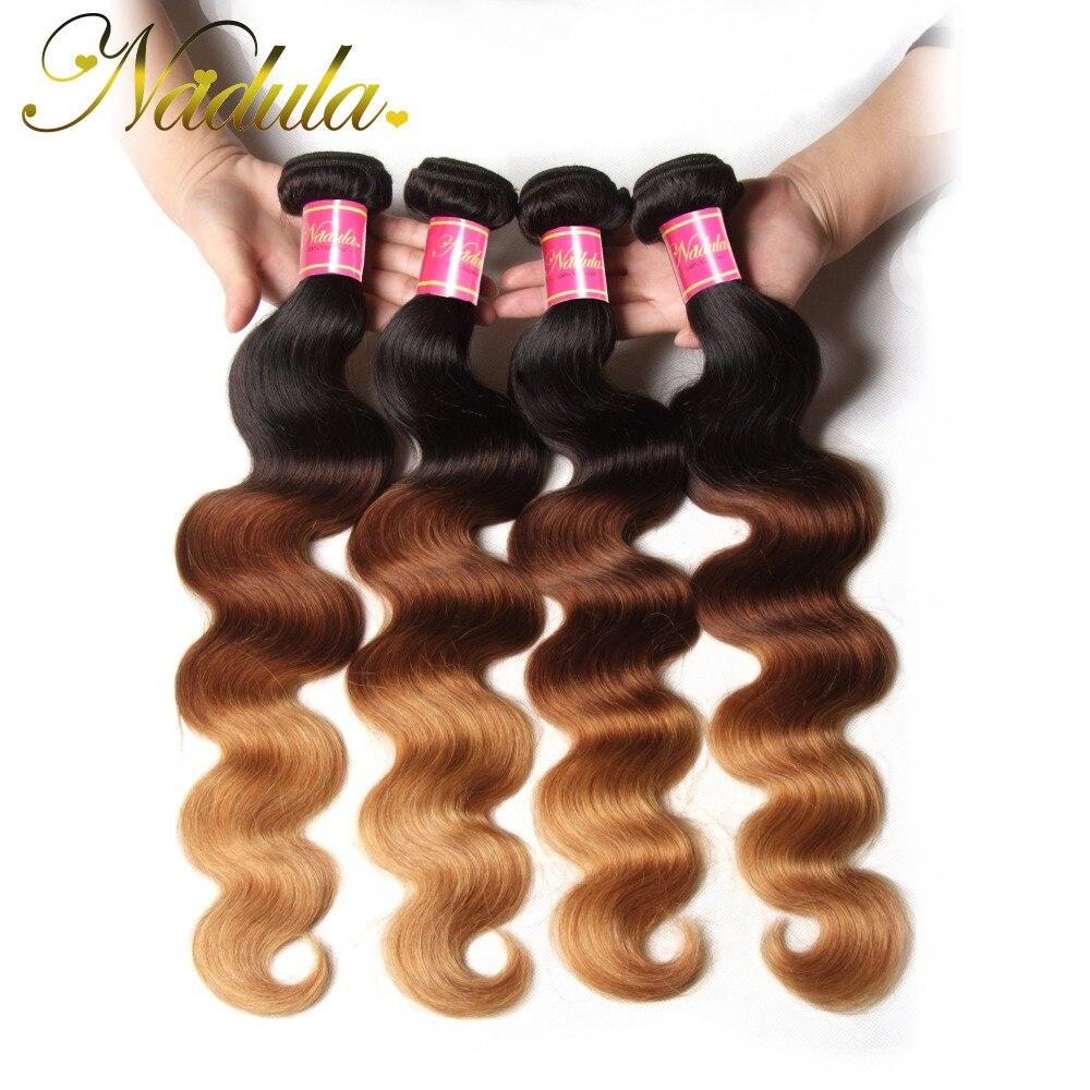 Ombre 3 Tone Brazilian Hair Body Wave Bundles 1B/4/27# Xuchang Nadula Hair Products 4 Bundles Brazilian Body Wave 7A Ombre Hair<br><br>Aliexpress
