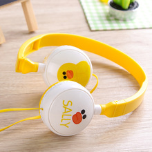 Cute Duck Bear Flaming Cartoon Headband Stereo Headphones w/ Microphone Portable Wired Headset for Kids Girls Mobile Phone Gifts(China)
