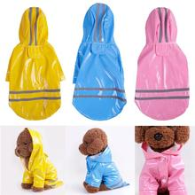 Dog Raincoat Super Waterproof Hooded Rain Jacket Cover Reflective Pet Clothes Retriever Strip Blue Yellow Pink(China)