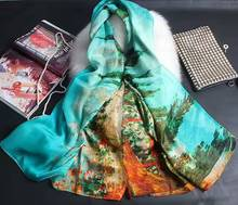 [SLKSCF] 175X135CM Summer painting print silk scarfs real real silk chiffon pashmina top quality pure silk scarves and shawls