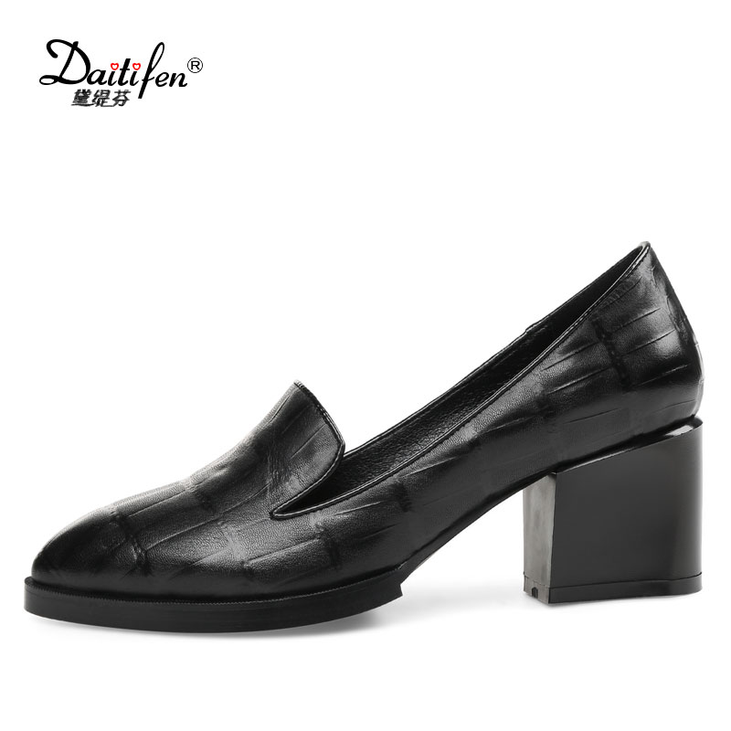 Daitifen Pointed Toe Women Embossed Leather high Block heel shoes Mature Shallow Office Work Lady Pumps chaussure femme talon <br>