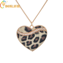Fashion Sweater Chain Long Necklaces Jewelry Accessory Gift Leopard Heart Pendant Brown Leopard Necklace Heart Necklace
