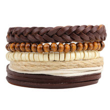 Fashion accessories Rope Wood Bead Leather Bracelets & bangles 1 Sets Multilayer Braided Wristband Bracelet Men pulseira YW622